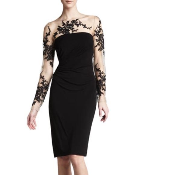 7be7ebff6de David Meister Long-sleeve Embroidered Jersey Dress